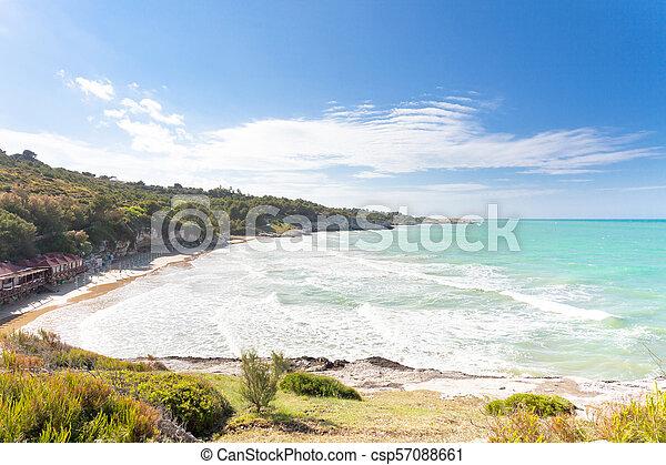 italien, gasthaus, -, vieste, abendessen, vieste, sandstrand, heraus - csp57088661