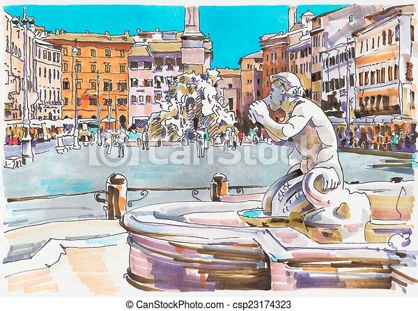 italien, markör, rom, stadsbild, målning, original - csp23174323