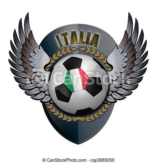Italien Wappen Kugel Aus Hintergrund Weisses Fussball