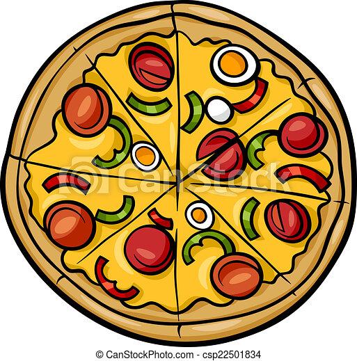 italiensk, tecknad film, illustration, pizza - csp22501834