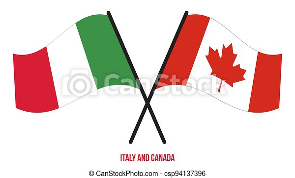 Italy and Canada Flags Crossed And Waving Flat Style. Official Proportion. Correct Colors - csp94137396