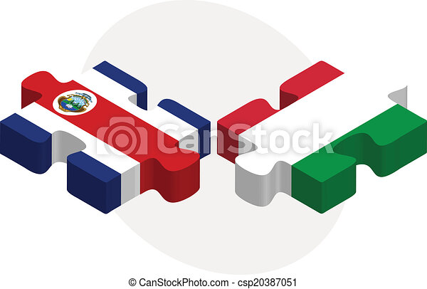 Italy and Costa Rica Flags in puzzle - csp20387051