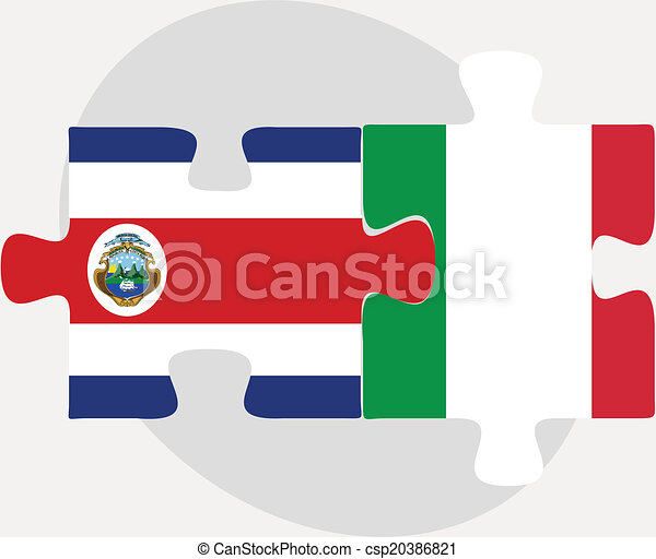 Italy and Costa Rica Flags in puzzle - csp20386821