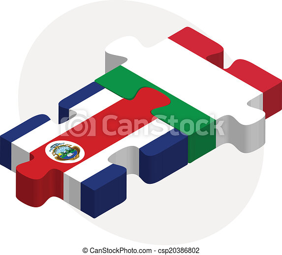 Italy and Costa Rica Flags in puzzle - csp20386802