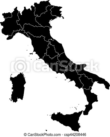 Map Of Italy Black And White.Italy Black And White Administrative Vector Map