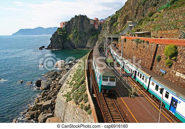 Italy. Cinque Terre. Train at station Manarola  - csp6916160