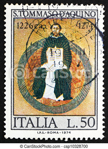 ITALY - CIRCA 1974: a stamp printed in the Italy shows St. Thomas Aquinas, by Francesco Traini, Scholastic Philosopher, 700th Death Anniversary, circa 1974 - csp10328700