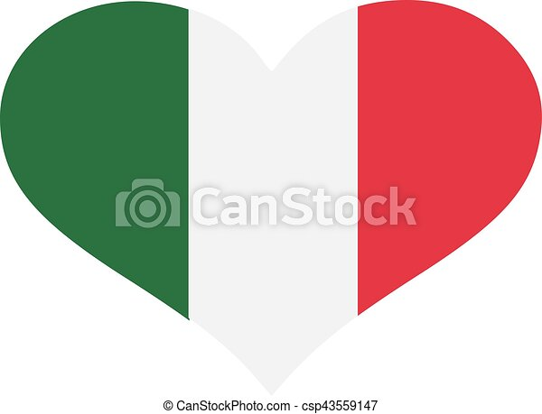 Italy flag heart - csp43559147
