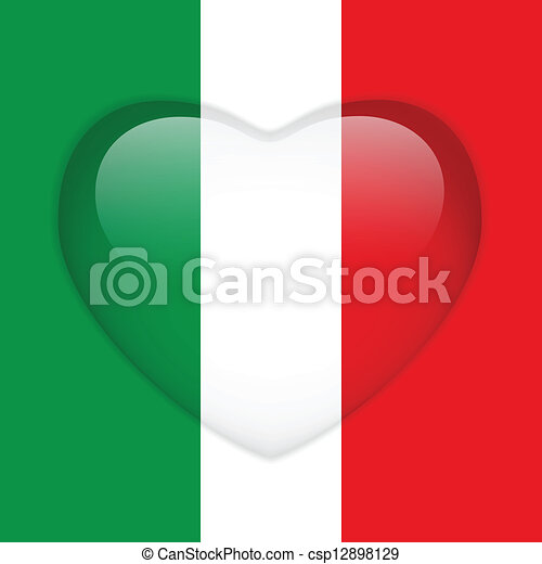 Italy Flag Heart Glossy Button - csp12898129