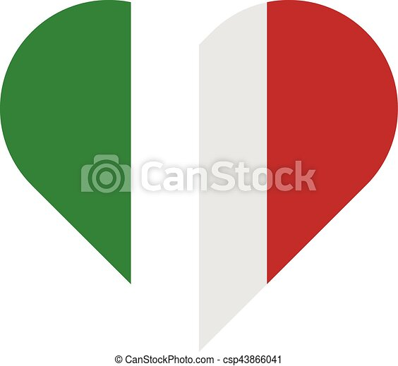 Italy flat heart flag - csp43866041
