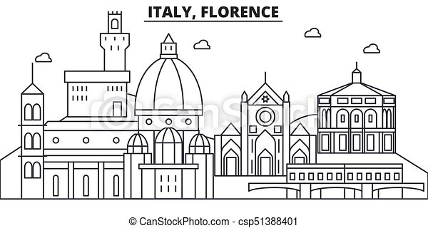 italy florence architecture line skyline illustration linear
