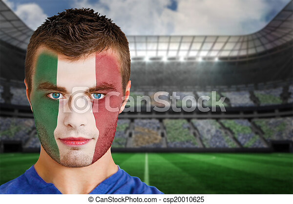 Italy Football Fan In Face Paint Composite Image Of Italy