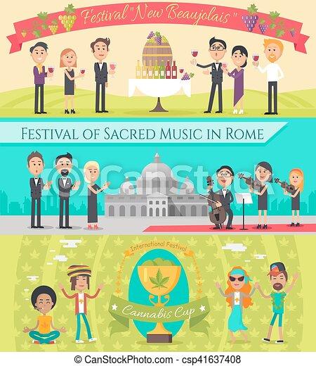 Italy France National Festivals Flat Style Design