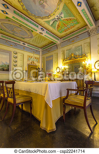 Italy Historic Tuscany Style Dining Room In A Museum Volterr