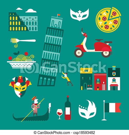 Italy icons - csp18593482