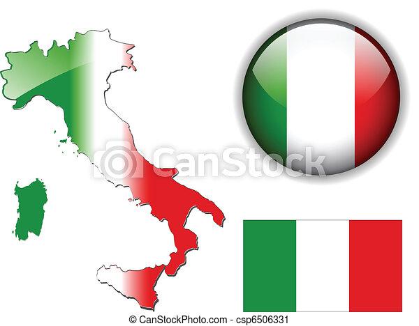 Italy, Italian flag, map and glossy - csp6506331