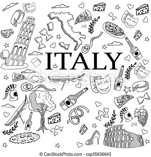 Italy line art design vector illustration - csp35636643