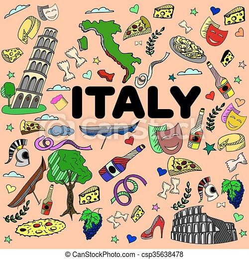 Italy line art design vector illustration - csp35638478
