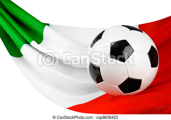 Italy Loves Football Soccer Ball On An Italian Flag Hanging In A
