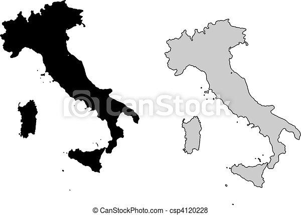 Italy Map Black And White.Italy Map Black And White Mercator Projection