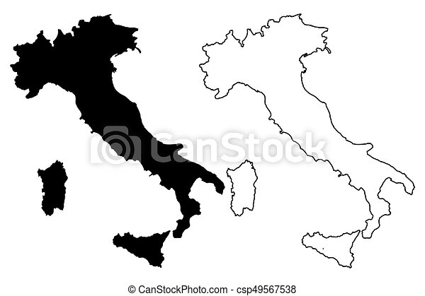 Italy Map Black And White.Italy Map Vector Illustration Scribble Sketch Italy