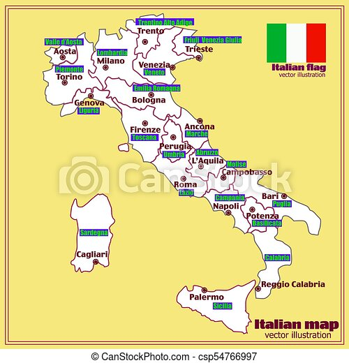 Map Of Italy Regions And Cities.Italy Map With Italian Regions Vector Map Of Italy Bright