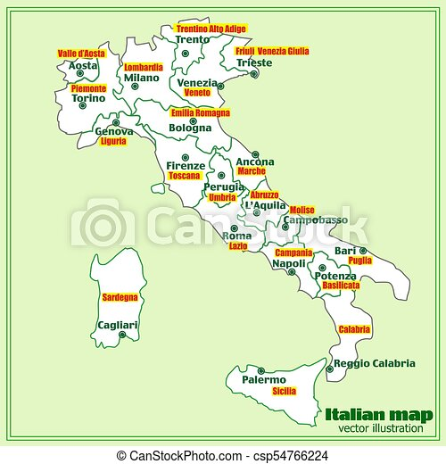 Regions Of Italy Map With Cities.Italy Map With Italian Regions Vector