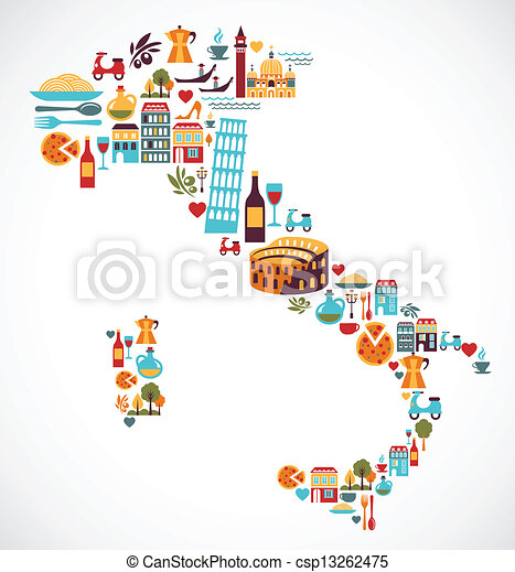 Italy map with vector icons - csp13262475