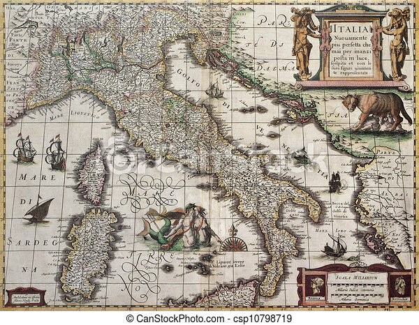 Italy Old Map Created By Henricus Hondius Published In Amsterdam - Amsterdam old map