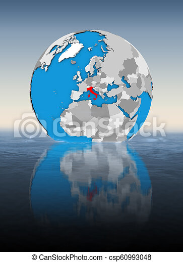 Italy on globe in water - csp60993048
