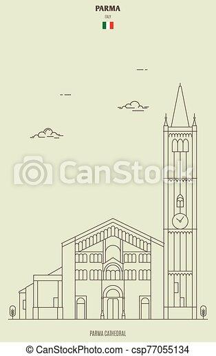 italy., parma, ランドマーク, アイコン, 大聖堂 - csp77055134