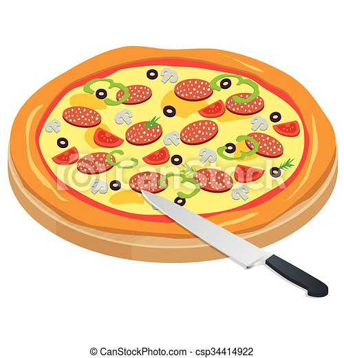 Italy Pizza on the chalkboard with the ingredients and knife isolated on write background. Appetizing pizza with mushrooms, mozzarella, meat, pepperoni. Fast food. Vector illustration. - csp34414922