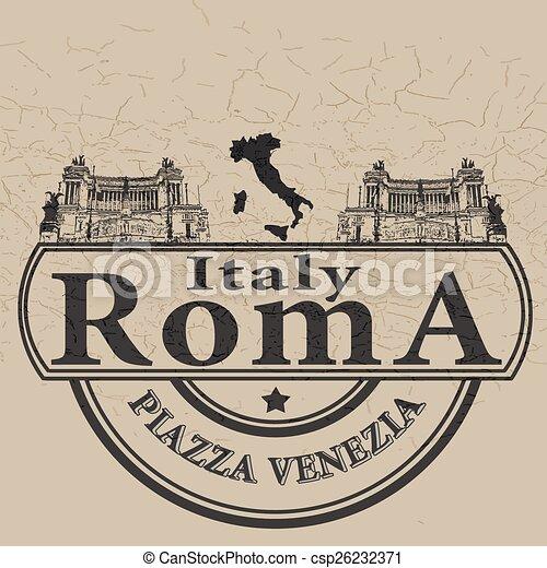 italy roma stamp - csp26232371
