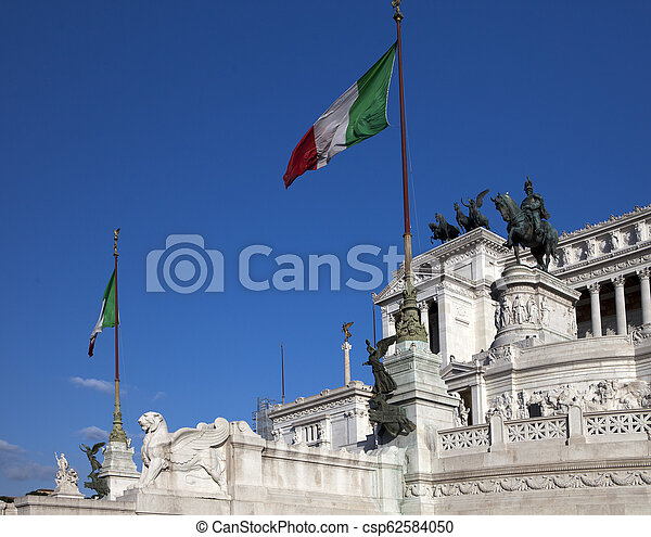 Italy. Rome. Vittoriano- a monument in honor of the first king of incorporated Italy Victor Emmanuil II - csp62584050
