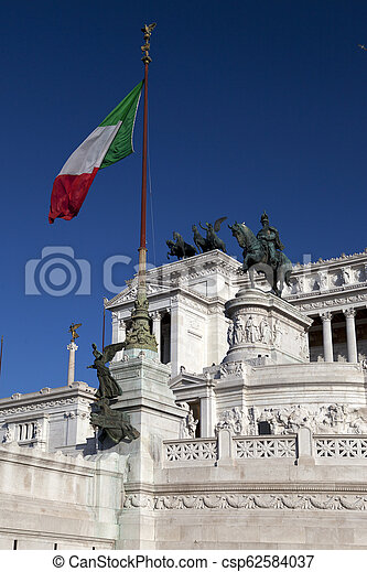 Italy. Rome. Vittoriano- a monument in honor of the first king of incorporated Italy Victor Emmanuil II - csp62584037