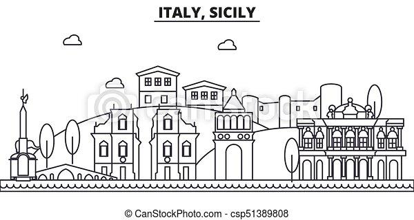 Italy, Sicily architecture vector city skyline, travel ... |Sicily Landmark Silhouette