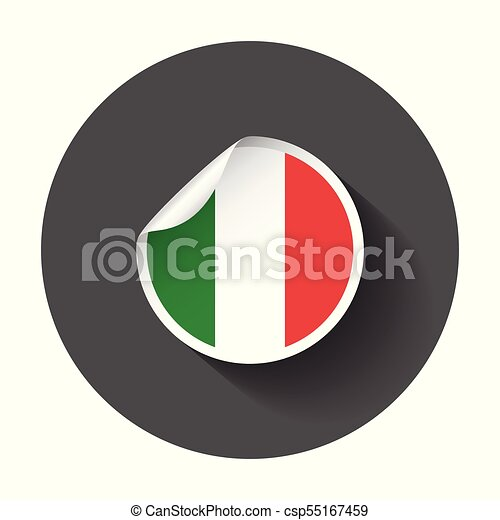 Italy sticker with flag. Vector illustration with long shadow. - csp55167459