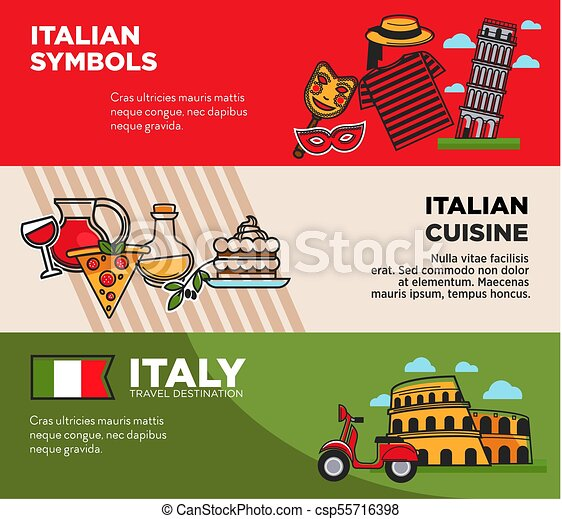 Italy Travel Destination Posters With National Symbols And Cuisine Architectural Attractions Famous Italian Pizza Delicious Food Journey To European