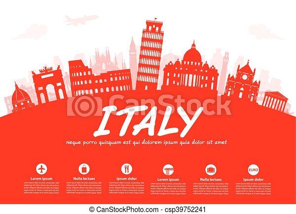Italy Travel Landmarks Vector - csp39752241