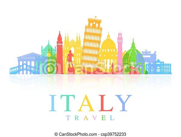 Italy Travel Landmarks Vector - csp39752233