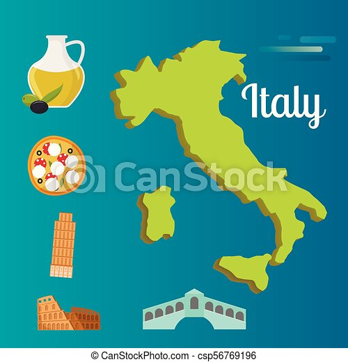 Map Of The World Italy.Italy Travel Map Vector Attraction Tourist Symbols Sightseeing World Italian Architecture Elements Illustration