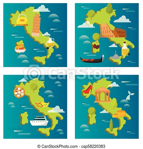 Travel Map Of Italy With Cities.Italy Travel Map Vector Attraction Tourist Symbols Sightseeing World Italian Architecture Elements Illustration