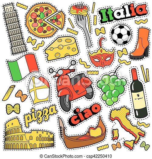 Italy Travel Scrapbook Stickers Patches Badges For Prints With
