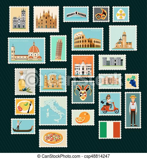 Italy Travel Stamps. - csp48814247