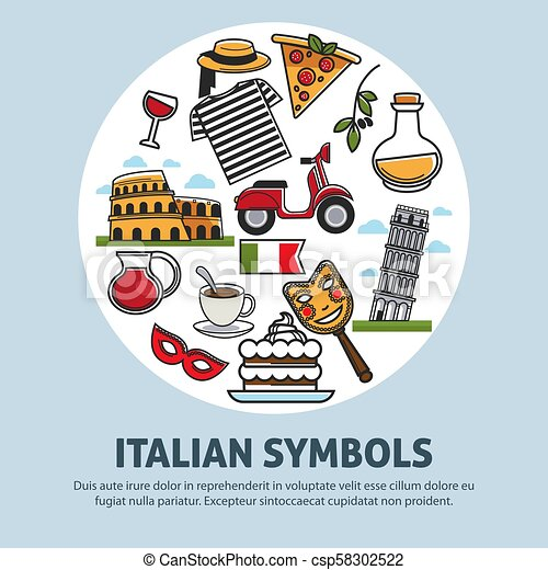 Italy travel symbols and landmarks vector poster - csp58302522