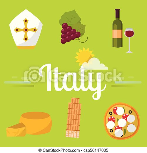 italy travel vector attraction tourist symbols sightseeing world