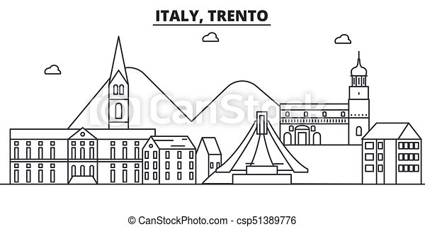 Italy, Trento architecture line skyline illustration. Linear vector cityscape with famous landmarks, city sights, design icons. Landscape wtih editable strokes - csp51389776