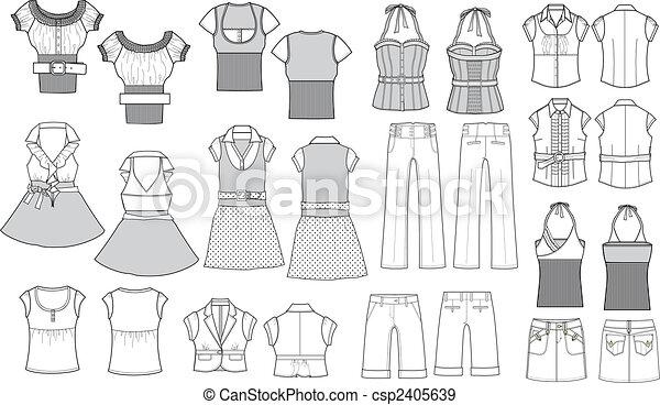 item, moda, esboço - csp2405639