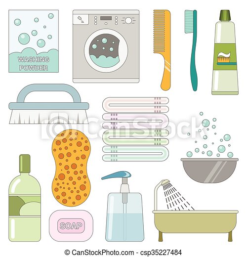 Items In The Bathroom Set Of Flat Icons Washing Things Mesmerizing Bathroom Clipart Set