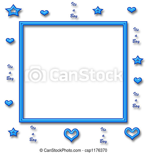 Its A Boy Frame Blue Neon Stars And Hearts With Neon Frame Center
